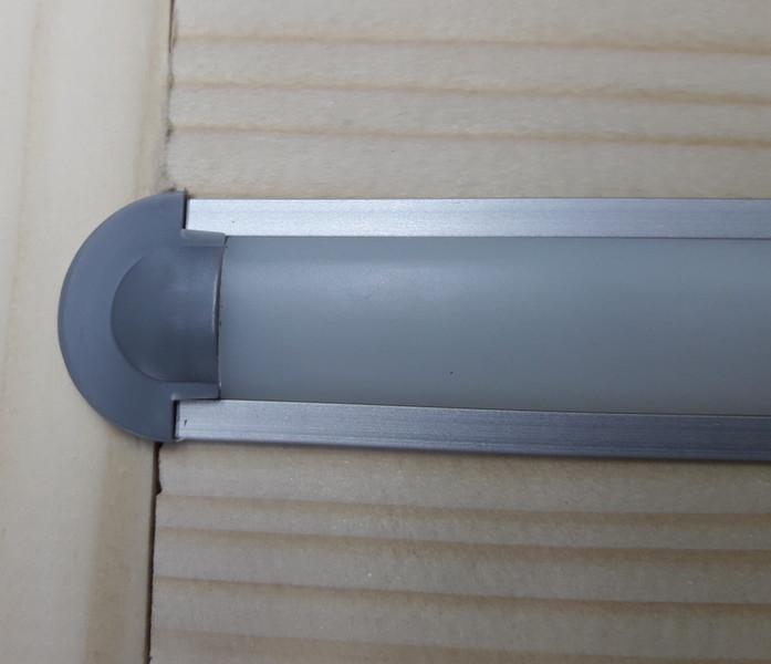 Светодиодный профиль врезной ЛПВ7 анод. Комплект 2мп (профиль+рассеиватель матовый+ заглушка)
