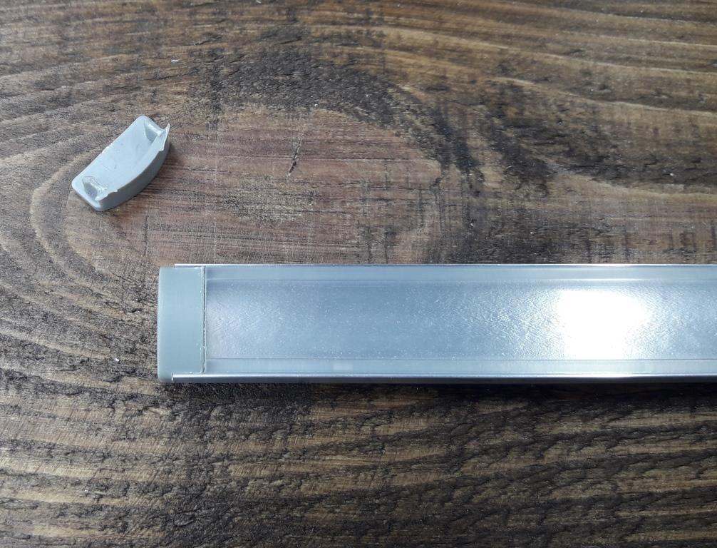 Светодиодный профиль Z306 (ЛП7) анод. Комплект 2мп (профиль+рассеиватель прозрачный+ заглушка)