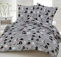 Постель серая в детскую кроватку Котики. Комплект детского постельного белья. Ткань Бязь, Коттон