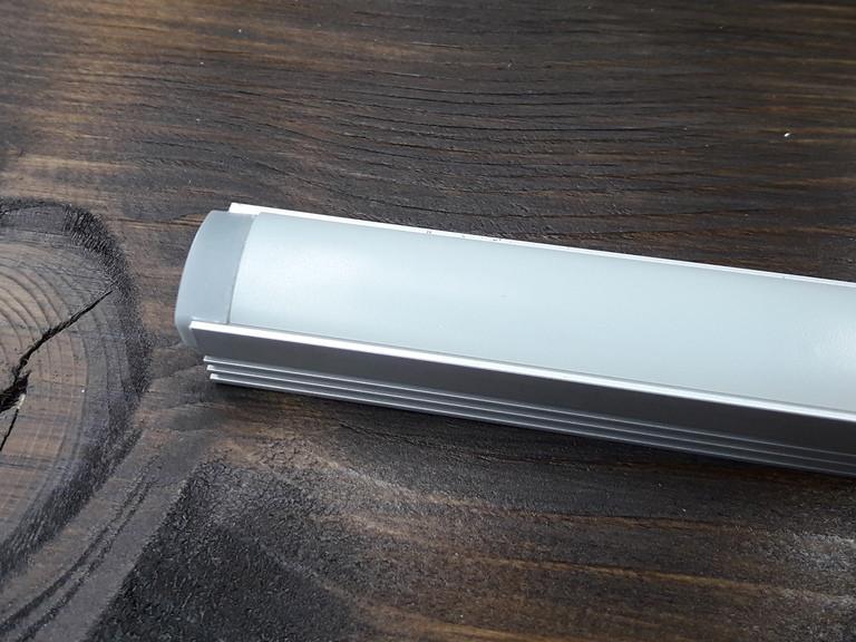 Лэд профиль светодиодный ЛП12, анод. Комплект 1мп (профиль+рассеиватель матовый+ заглушка)