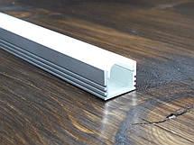 Лэд профиль светодиодный ЛП12, анод. Комплект 2мп (профиль+рассеиватель матовый+ заглушка), фото 3