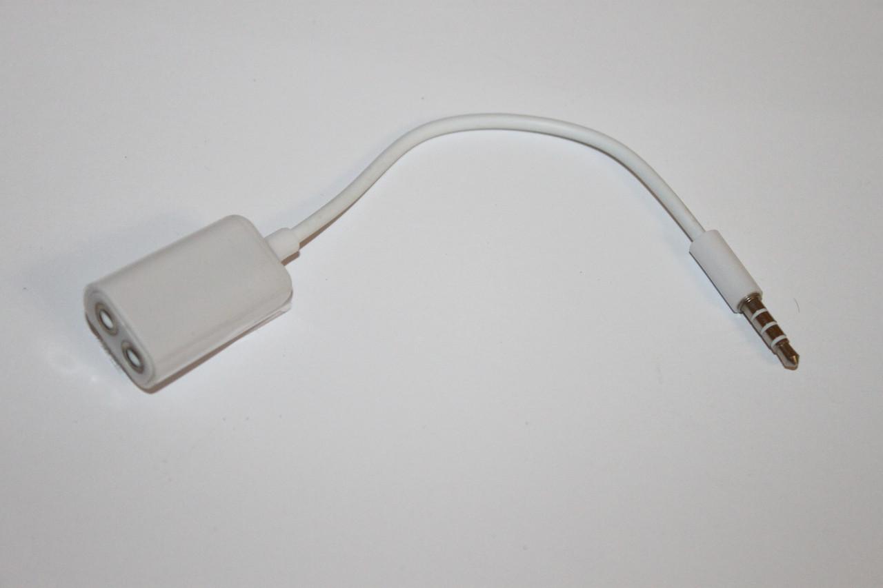 Разветвитель AUX 3.5мм на 2 входа (for mic) White