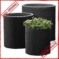Вазон Keter Cylinder Planter S 7 л серый