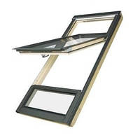 FAKRO Двустворчатое мансардное окно с приподнятой осью поворота створки FDY-V U3 Duet proSky 78х235 см