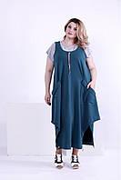 Зеленое длинное платье с карманами (футболка отдельно) | 0879-1