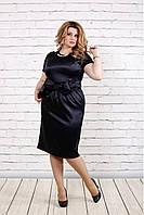 Платье из атласа темно-синего цвета   0777-1