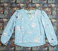 Блузка с длинным рукавом Элана 128-152 голубой , фото 1