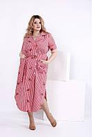 Красное клетчатое платье с вышивкой | 0838-2