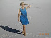 Красивое голубое платье из натурального легкого шелка Solar, фото 1
