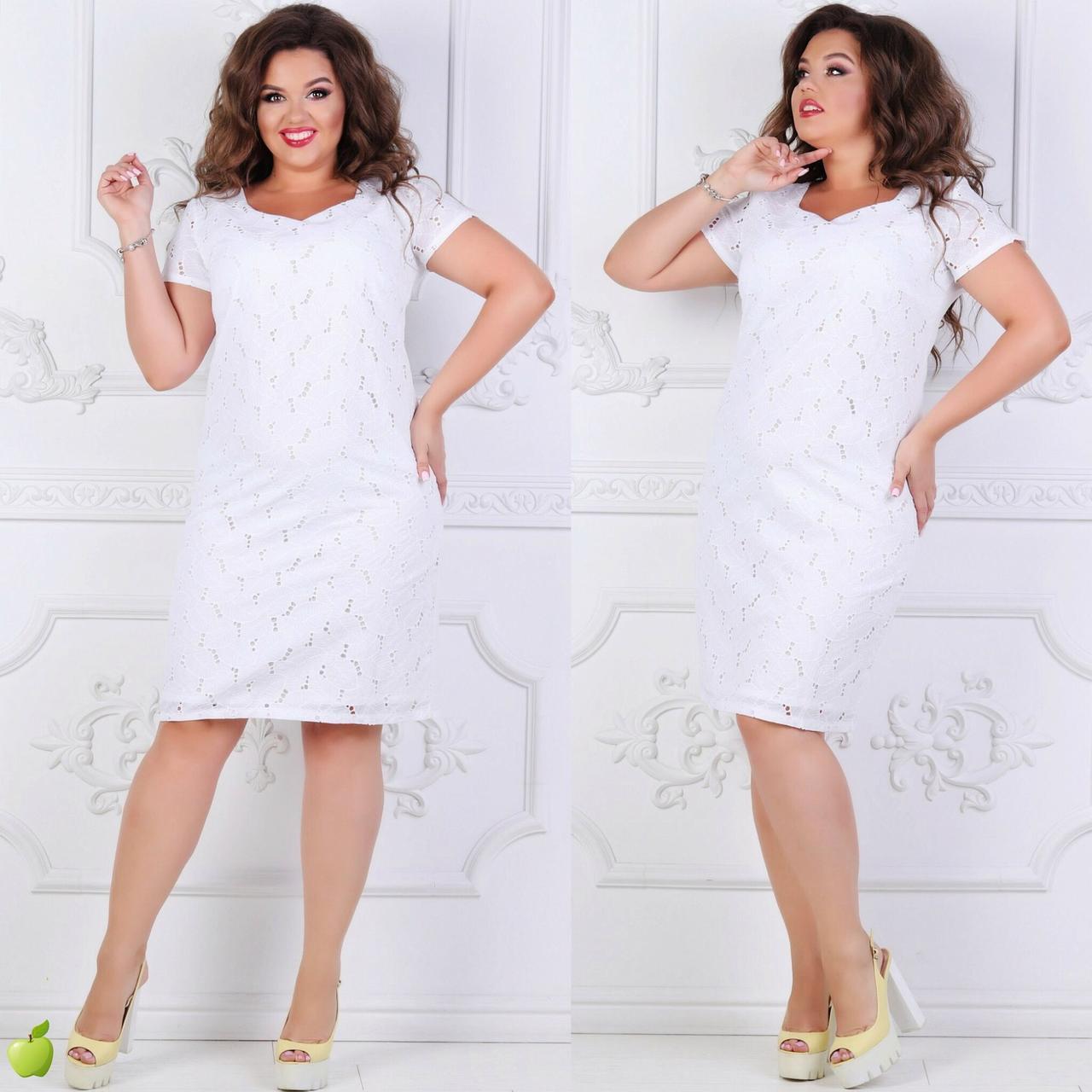 Летнее платье из прошвы большие размеры 50-56, две расцветки