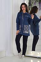 Демисезонный женский повседневный костюм из трикотажа двунитка и бенгалина размеры 48-54