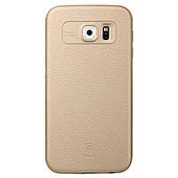 Чехол накладка пластик + бампер металл Baseus для Samsung Galaxy S6 G920 золотой