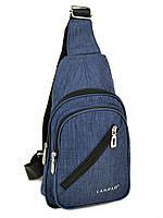 Мужская сумка на плечо Lanpad 01801 мини рюкзак/бананка через плечо USB выход 19*30*9см