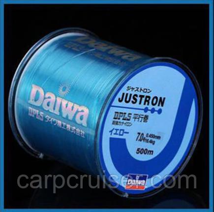 Леска Daiwa Justron DPLS 0.40 мм., тест 13.3, размотка 500 м. Цвет синий.
