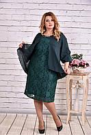 Модное зеленое платье до колена | 0605-2