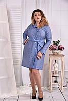 Нежное платье-рубашка на каждый день с поясом 0579-3