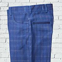 """Школьные брюки для мальчика """"Винтаж"""" голубые в клетку"""