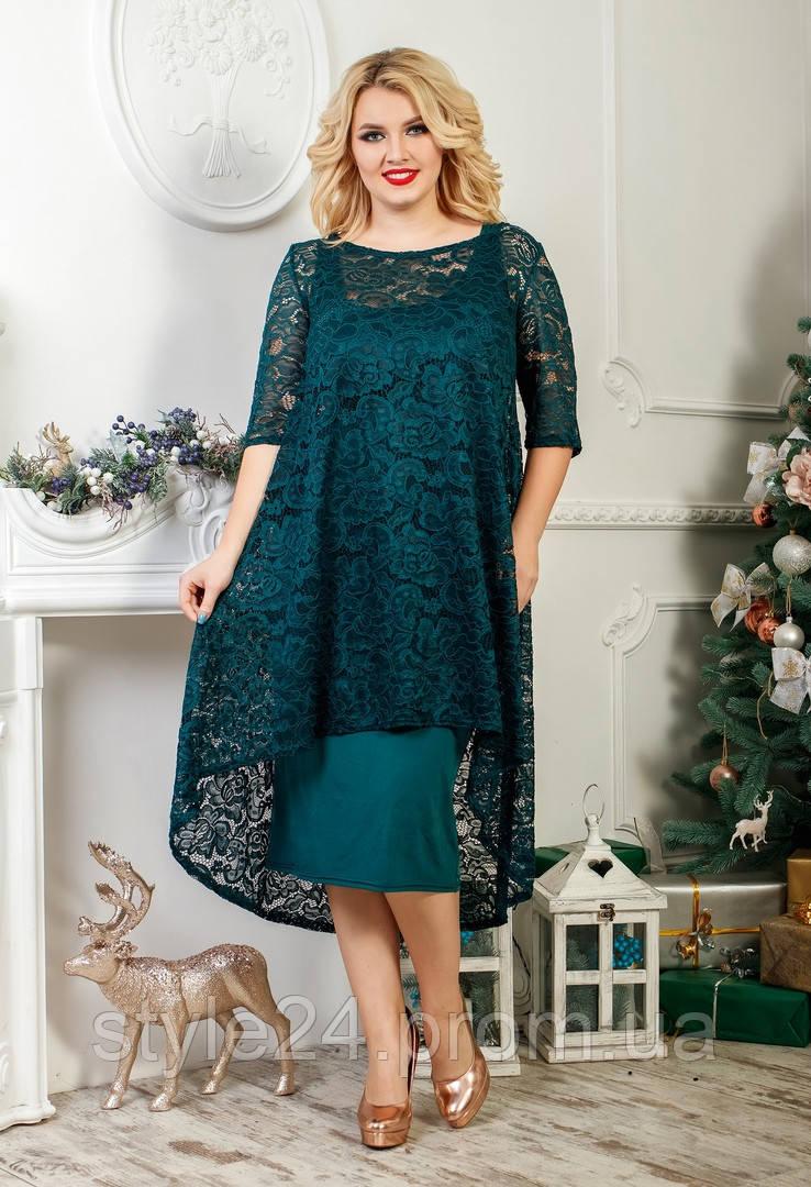 ЖІноче батальне плаття з гіпюровою накидкою,7 кольорів в продажі .Розміри 46-60