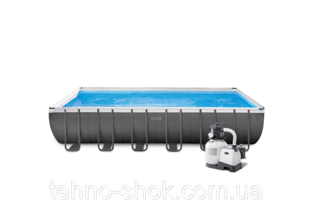 Бассейн каркасный Intex 26364, 732-366-132 см, фильтр-насос, лестница, подстилка, тент