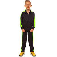 Костюм спортивный детский (р-р 26-32, рост 125-155 см, черно-салатовый)