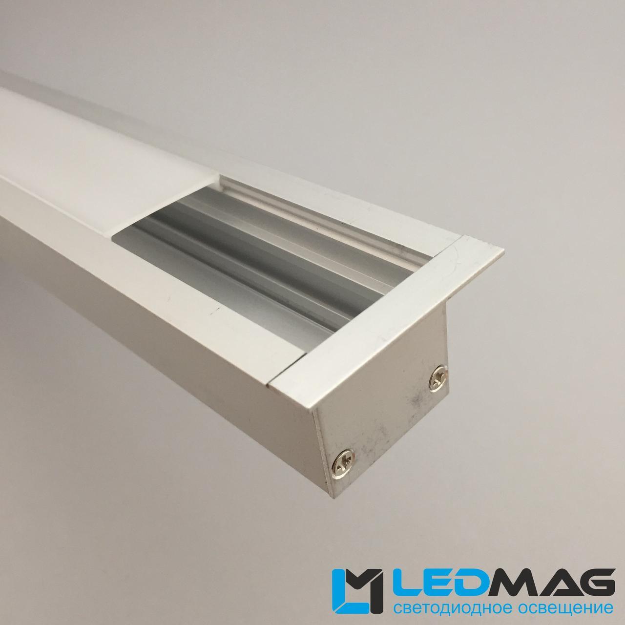 Широкий светодиодный профиль под две светодиодные ленты встроенный 50(35)х35 мм