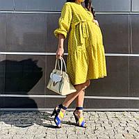 Желтое платье миди для беременных, вагітних, годуючих, гв, кормящих мам принт горох размер ХЛ