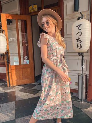 Женское легкое летнее платье (плотный лен) Пудра, фото 2