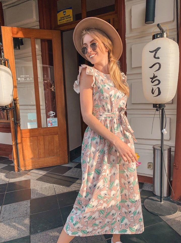 Женское легкое летнее платье (плотный лен) Пудра