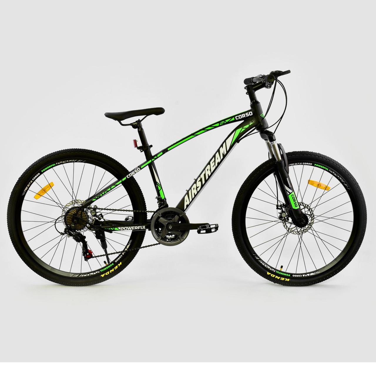 """Велосипед спортивный CORSO AIRSTREAM 26"""" дюймов JYT 002 - 8047 черно-зеленый"""