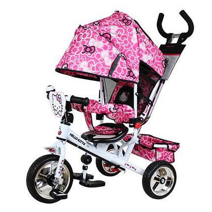 Детский трехколесный велосипед Turbo Trike HK 0118-01 Hello Kitty, розовый с белой рамой, фото 2