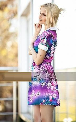 Платье летнее из тонкой ткани креп шифон цветочное, (не светится). Практичное платье, р.44 код 5452М