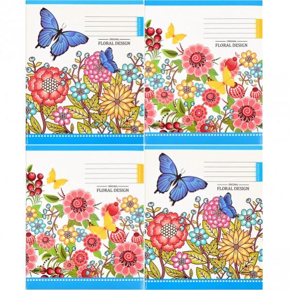 Тетрадь цветная 96 листов, лінія «Mandarin» 1 упаковка 12шт