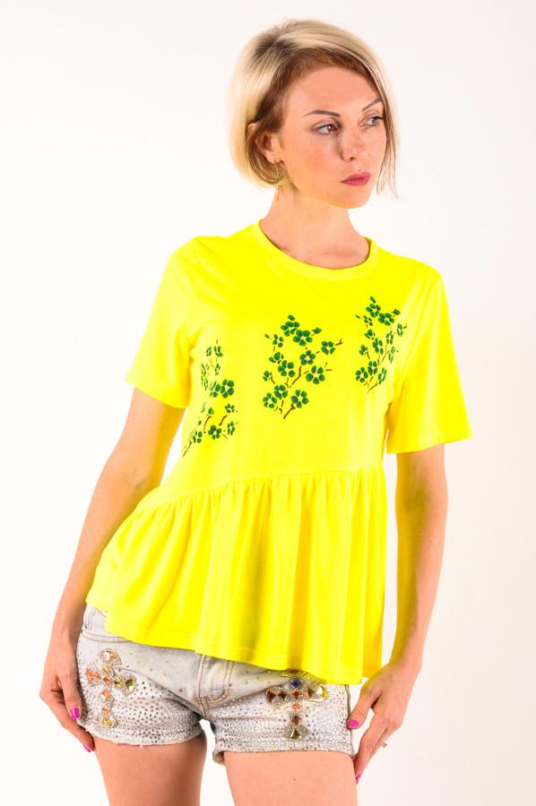 Женская футболка  желтая Сакура/зеленая размеры 40-46