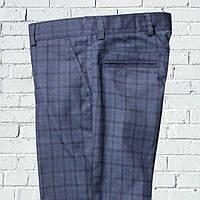 """Школьные брюки для мальчика """"Британия"""" зауженные синие в клетку"""