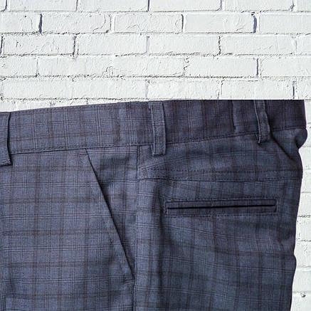 """Школьные брюки для мальчика """"Британия"""" зауженные синие в клетку, фото 2"""