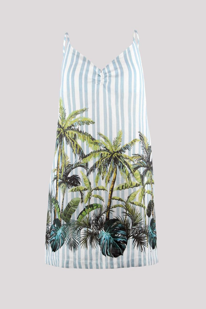 Сарафан женский KIFA СЖ-19/504 полоска голубая+ пальмы