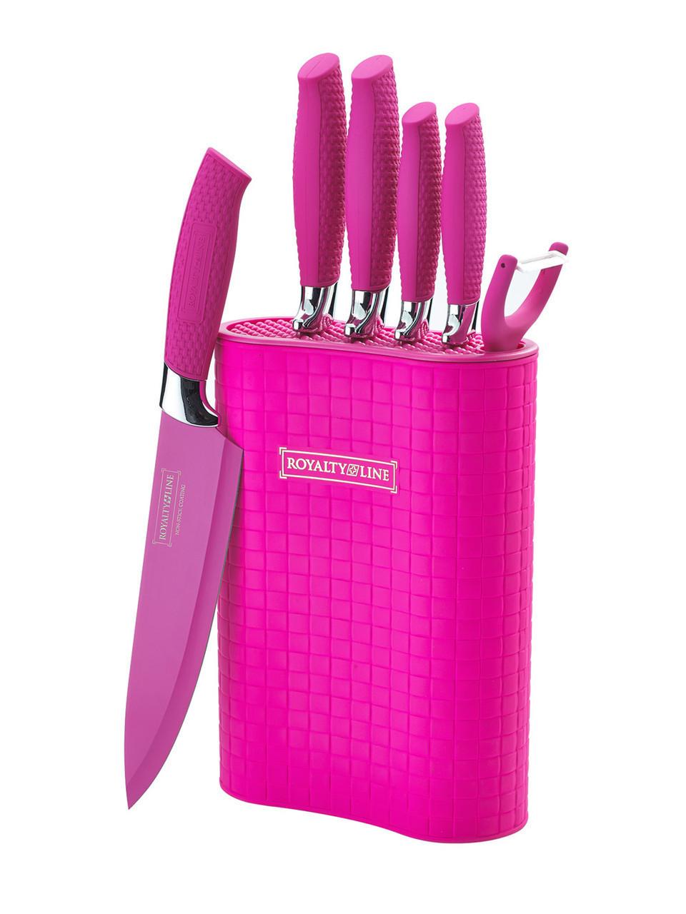 Стильный розовый набор ножей Royalty Line RL-6MSTR 6pcs качественный набор для кухни