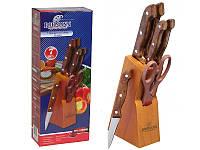 Коричневый кухонный набор ножей Bohmann BH-5102MR 7 предметов деревянная подставка, фото 1