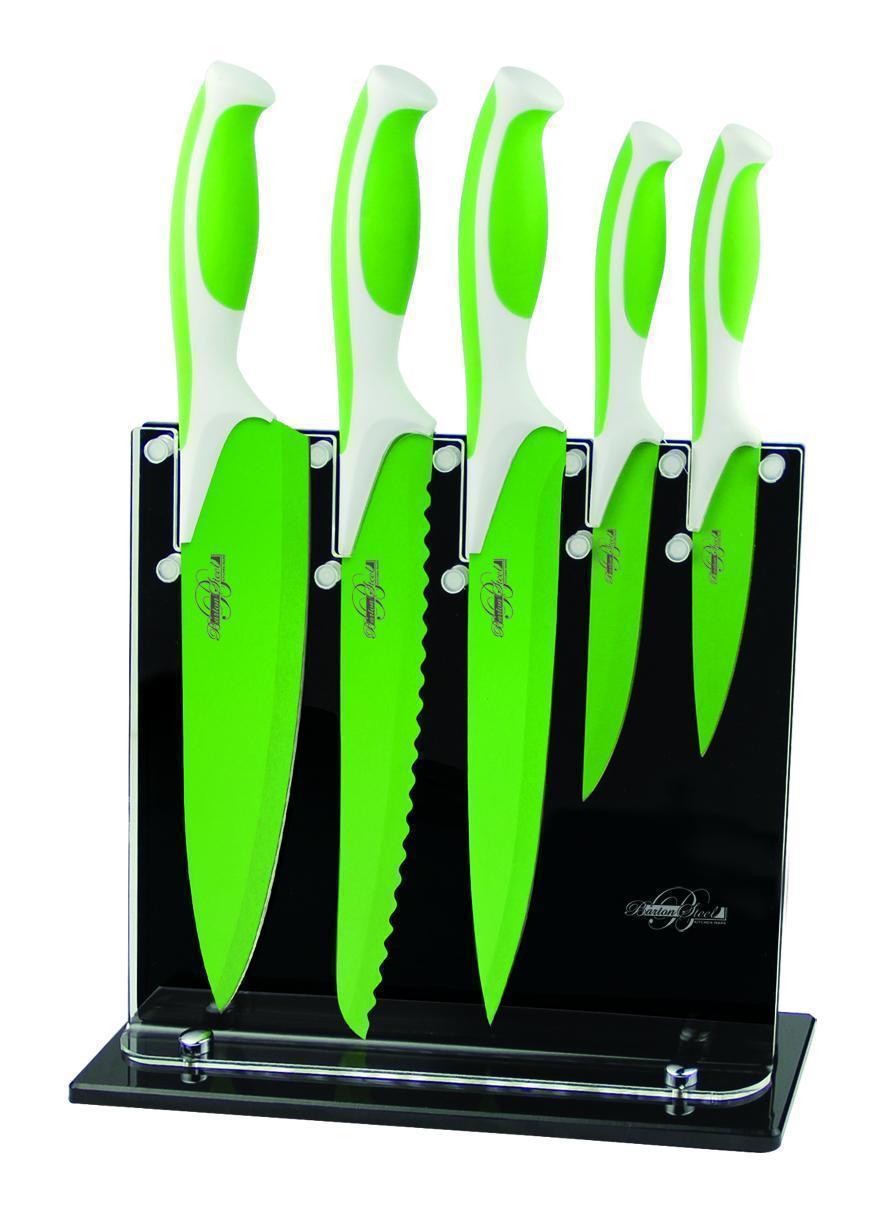 Яркий набор керамических ножей Barton Steel BS 9016 набор 5 ножей магнитная подставка