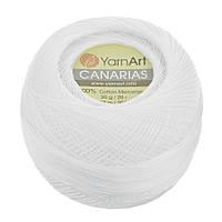 Пряжа YarnArt Canarias 0000 белый (Ярнарт Канарис)  100% мерсеризованный хлопок