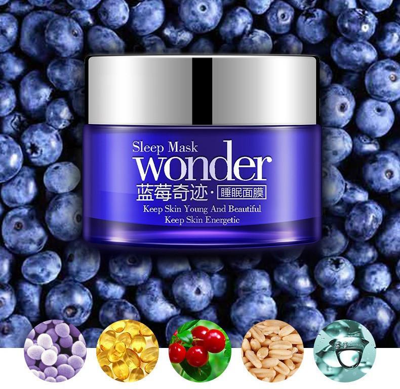 Увлажняющая, питательная и восстанавливающая ночная крем-маска с экстрактом черники BioAqua Wonder Sleep Mask