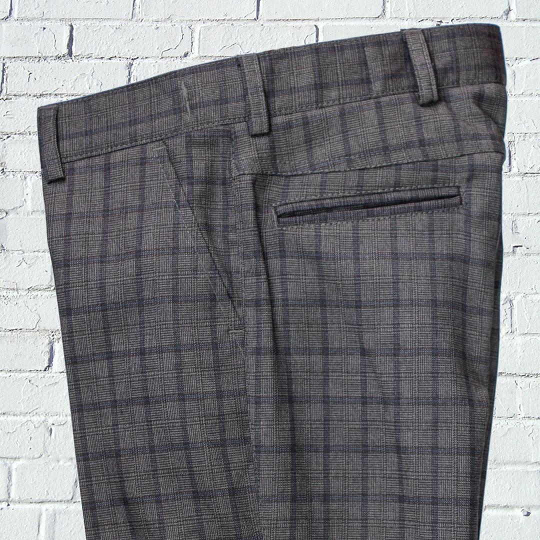 """Школьные брюки для мальчика """"Оксфорд"""" зауженные серые в клетку"""