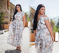 Длинное летнее платье (макси) принт цветы Большого размера