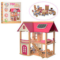 Дом для куклы MD 1068 деревянный с мебелью, 55-37-53 см