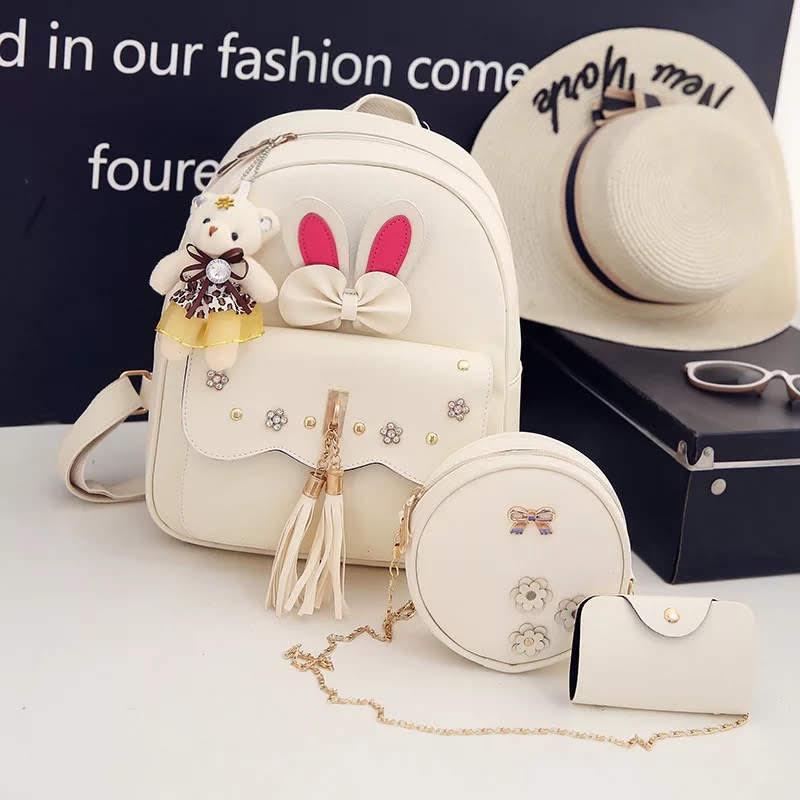 Рюкзак женский Алиса в наборе с сумкой и мишкой Тедди