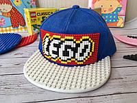 Детская кепка-конструктор для Lego синяя кепка с белым козырьком