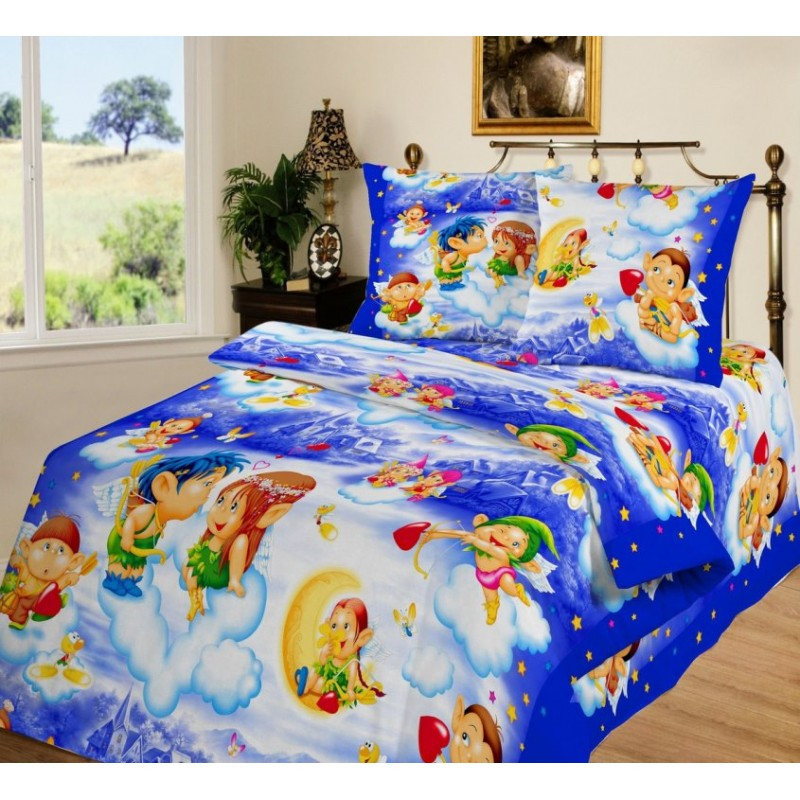 """Комплект постельного белья """"Амуры на голубом"""", подростковый"""