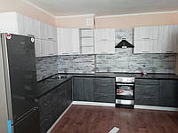 Кухня МДФ Хай-Тек 2000х3450мм, дуб білений+мармур бетон темний, фото 1