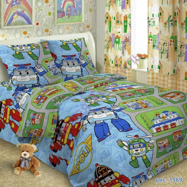 Комплект постельного белья Робокар Поли в кроватку