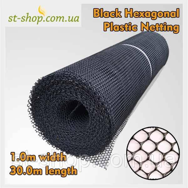 Сетка пластиковая садовая ромб 1*30м (черная) ячейка 6*8